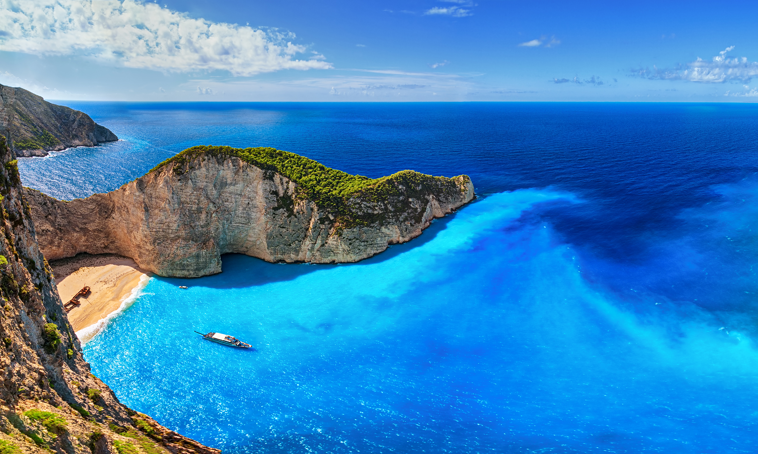 Panorama of Navagio Beach (Shipwreck Beach), Zakynthos island, Greece.